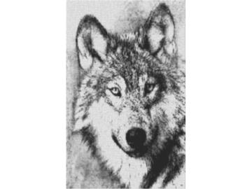 Vorlage für Ministeck Wolf 60x80cm schwarz/weiß als Volldruck