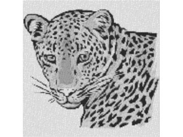 Vorlage für Ministeck Leopard 60x60cm schwarz/weiß als Entwurfdruck