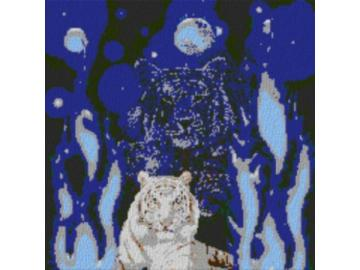 Vorlage für Ministeck Weltall Tiger 80x80cm cartoon Style als Entwurfdruck