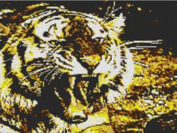 Vorlage für Ministeck Tiger 80x60cm yellow Style als Entwurfdruck