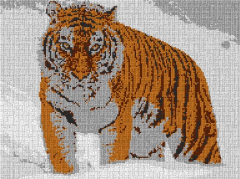 Vorlage für Ministeck Tiger im Schnee 80x60cm cartoon Style per eMail