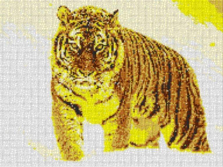 Vorlage für Ministeck Tiger im Schnee 80x60cm yellow Style als Volldruck